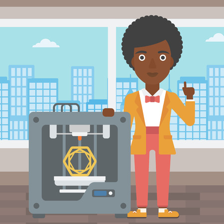 woman pointing up: An african-american woman  standing near tree D printer and pointing forefinger up. Engineer using 3D printer. Woman working with 3D printer. Vector flat design illustration. Square layout.