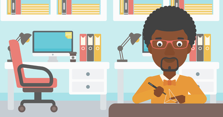 polymerization: An african-american man making a model with a 3D pen. Man drawing geometric shape by 3d pen. Man working with a 3d-pen. Vector flat design illustration. Horizontal layout.
