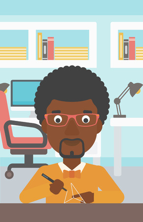 An african-american man making a model with a 3D pen. Man drawing geometric shape by 3d pen. Man working with a 3d-pen. Vector flat design illustration. Vertical layout. Vettoriali