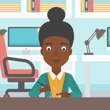 3 dimensional: An african-american woman  making a model with a 3D pen. Woman drawing geometric shape by 3d pen. Engineer working with a 3 dimensional pen. Vector flat design illustration. Square layout.