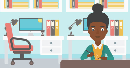3 dimensional: An african-american woman making a model with a 3D pen. Woman drawing geometric shape by 3d pen. Engineer working with a 3 dimensional pen. Vector flat design illustration. Horizontal layout.