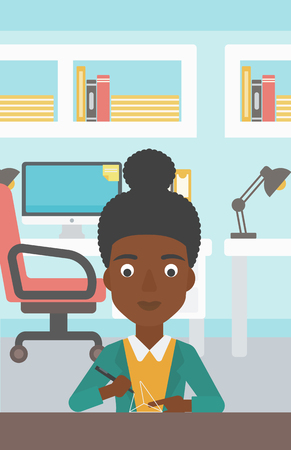 polymerization: An african-american woman making a model with a 3D pen. Woman drawing geometric shape by 3d pen. Engineer working with a 3 dimensional pen. Vector flat design illustration. Vertical layout.