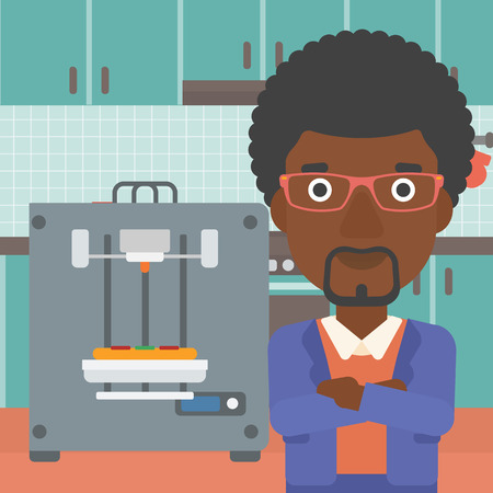 An african-american woman working with three D printer making pizza on background of kitchen. Man with crossed arms standing near 3D printer. Vector flat design illustration. Square layout. Illustration
