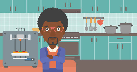 An african-american woman working with three D printer making pizza on background of kitchen. Man with crossed arms standing near 3D printer. Vector flat design illustration. Horizontal layout. Illustration