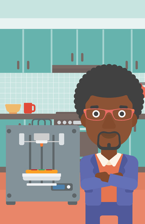 crossed arms: An african-american woman working with three D printer making pizza on background of kitchen. Man with crossed arms standing near 3D printer. Vector flat design illustration. Vertical layout. Illustration