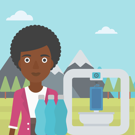 polymerization: An african-american woman standing near three D printer on the background of mountains. 3D printer making a smartphone using recycled plastic bottles. Vector flat design illustration. Square layout.