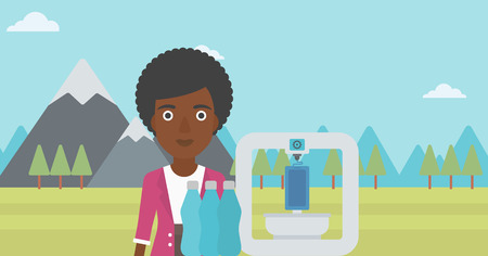 plastic bottles: African-american woman standing near three D printer on the background of mountains. 3D printer making a smartphone using recycled plastic bottles. Vector flat design illustration. Horizontal layout.