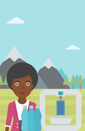 plastic bottles: An african-american woman standing near three D printer on the background of mountains. 3D printer making a smartphone using recycled plastic bottles. Vector flat design illustration. Vertical layout. Illustration