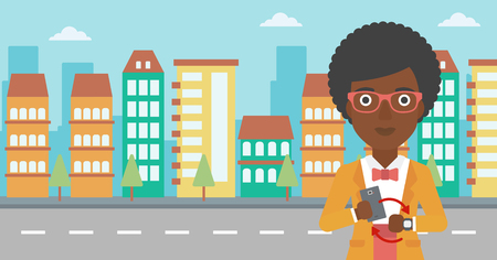 smart woman: An african-american woman holding a smartphone looking at her smart watch. Synchronization between smartwatch and smartphone. Vector flat design illustration. Horizontal layout.