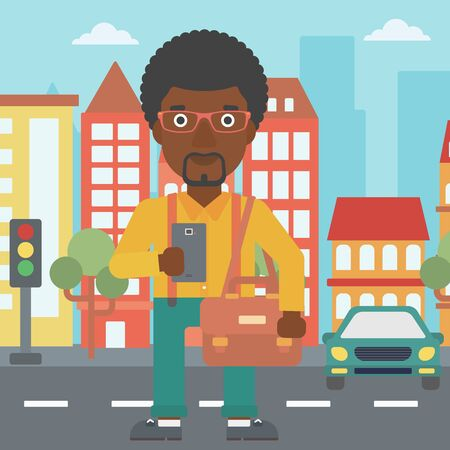 using smartphone: An african-american man using a smartphone. Businessman with briefcase working with smartphone on a city background. Vector flat design illustration. Square layout.