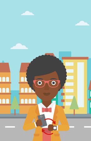 smart woman: An african-american woman holding a smartphone looking at her smart watch. Synchronization between smartwatch and smartphone. Vector flat design illustration. Vertical layout. Illustration
