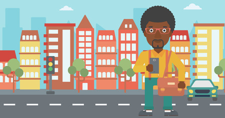 using smartphone: An african-american man using a smartphone. Businessman with briefcase working with smartphone on a city background. Vector flat design illustration. Horizontal layout. Illustration
