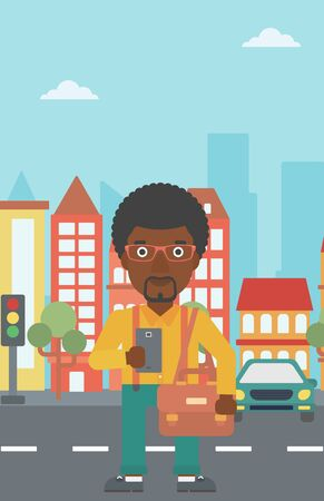 using smartphone: An african-american man using a smartphone. Businessman with briefcase working with smartphone on a city background. Vector flat design illustration. Vertical layout.