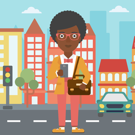 using smartphone: An african-american woman  using a smartphone. Business woman with briefcase working with smartphone on a city background. Vector flat design illustration. Square layout. Illustration