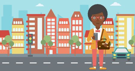 using smartphone: An african-american woman using a smartphone. Business woman with briefcase working with smartphone on a city background. Vector flat design illustration. Horizontal layout.