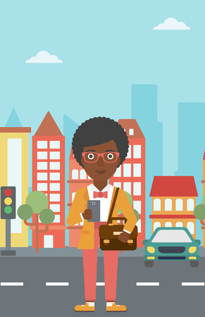 using smartphone: An african-american woman using a smartphone. Business woman with briefcase working with smartphone on a city background. Vector flat design illustration. Vertical layout.