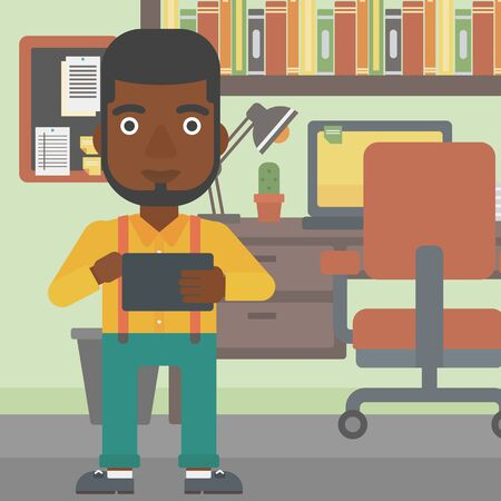 using tablet: An african-american man using a tablet computer. Businessman working with a digital tablet on the background of office. Vector flat design illustration. Square layout. Illustration