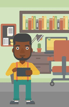 using tablet: An african-american man using a tablet computer. Businessman working with a digital tablet on the background of office. Vector flat design illustration. Vertical layout. Illustration