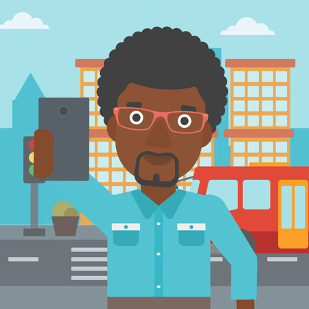 taking photo: An african-american man making selfie. Man taking photo with cellphone. Man looking at smartphone and taking selfie on a background of city. Vector flat design illustration. Square layout.