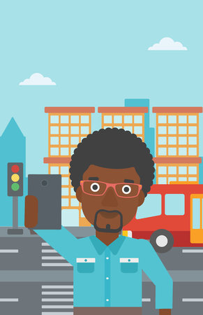 taking photo: An african-american man making selfie. Man taking photo with cellphone. Man looking at smartphone and taking selfie on a background of city. Vector flat design illustration. Vertical layout. Illustration
