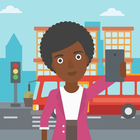 woman cellphone: An african-american woman making selfie. Woman taking photo with cellphone. Woman looking at smartphone and taking selfie on the background of city. Vector flat design illustration. Square layout.