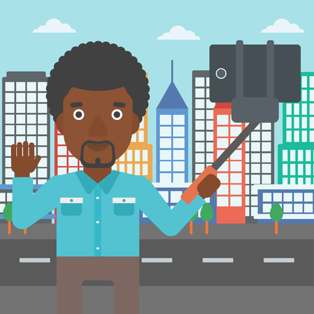 taking photo: An african-american man making selfie with a selfie-stick. Man taking photo with cellphone and waving on a city background. Vector flat design illustration. Square layout.