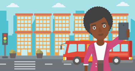 woman cellphone: An african-american woman making selfie. Woman taking photo with cellphone. Woman looking at smartphone and taking selfie on the background of city. Vector flat design illustration. Horizontal layout.