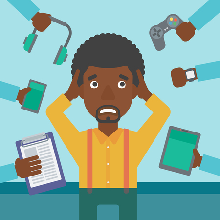 multiple ethnicity: An african-american man in despair and many hands with gadgets around him. Young man surrounded with gadgets. Man using many electronic gadgets. Vector flat design illustration. Square layout.