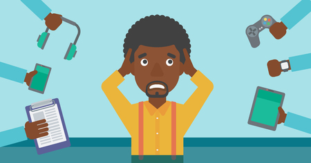 frustration: An african-american man in despair and many hands with gadgets around him. Young man surrounded with gadgets. Man using many electronic gadgets. Vector flat design illustration. Horizontal layout.