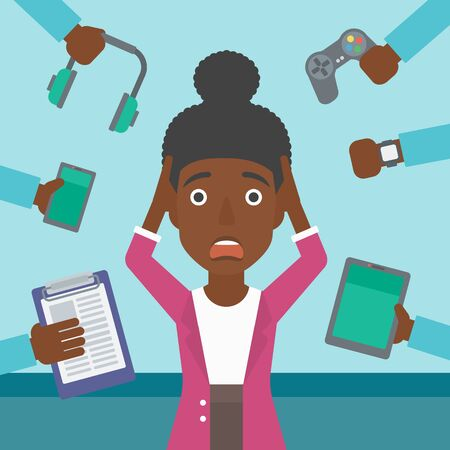 multiple ethnicities: An african-american woman in despair and many hands with gadgets around her. Woman surrounded with gadgets. Woman using many electronic gadgets. Vector flat design illustration. Square layout. Illustration