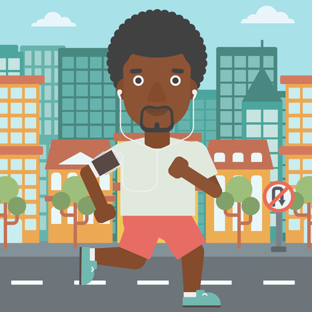 An african-american man running with earphones and armband for smartphone. Man listening to music during running. Man running on a city background. Vector flat design illustration. Square layout. Reklamní fotografie - 59766537