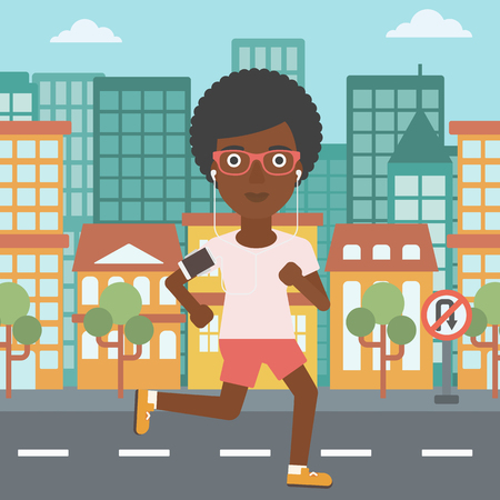 armband: An african-american woman running with earphones and armband for smartphone. Woman listening to music during running. Woman running in the city. Vector flat design illustration. Square layout.