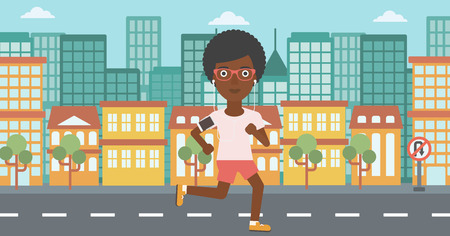 woman running: An african-american woman running with earphones and armband for smartphone. Woman listening to music during running. Woman running in the city. Vector flat design illustration. Horizontal layout.