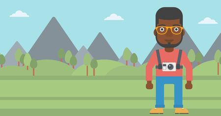 An african-american man with a digital camera on his chest. Tourist with a digital camera standing on the background of mountains. Vector flat design illustration. Horizontal layout. Reklamní fotografie - 59766939
