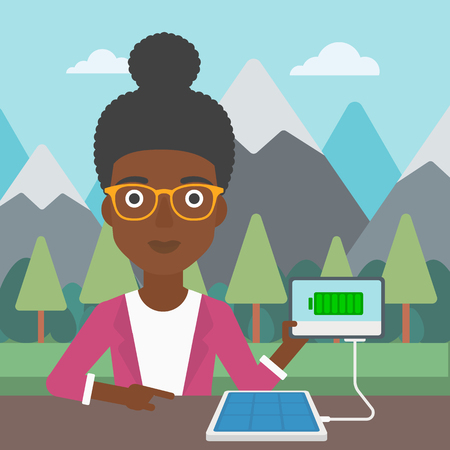 woman tablet: An african-american woman charging tablet computer with solar panel on a background of mountains. Charging digital tablet from portable solar panel. Vector flat design illustration. Square layout.