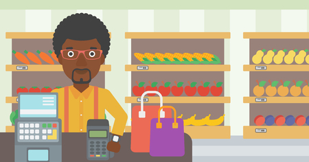smart man: An african-american man paying wireless with his smart watch at the supermarket. Male customer making payment for purchase with smart watch. Vector flat design illustration. Horizontal layout.