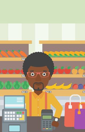 smart man: An african-american man paying wireless with his smart watch at the supermarket. Male customer making payment for purchase with smart watch. Vector flat design illustration. Vertical layout.