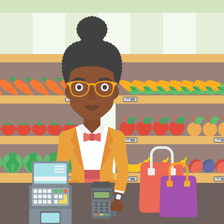 smart woman: An african-american woman paying wireless with her smart watch at the supermarket. Female customer making payment for purchase with smart watch. Vector flat design illustration. Square layout. Illustration