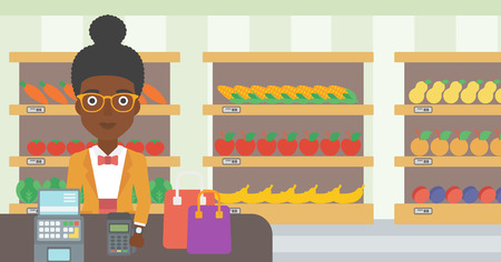 An african-american woman paying wireless with her smart watch at the supermarket. Female customer making payment for purchase with smart watch. Vector flat design illustration. Horizontal layout.