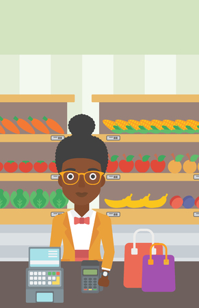 An african-american woman paying wireless with her smart watch at the supermarket. Female customer making payment for purchase with smart watch. Vector flat design illustration. Vertical layout.