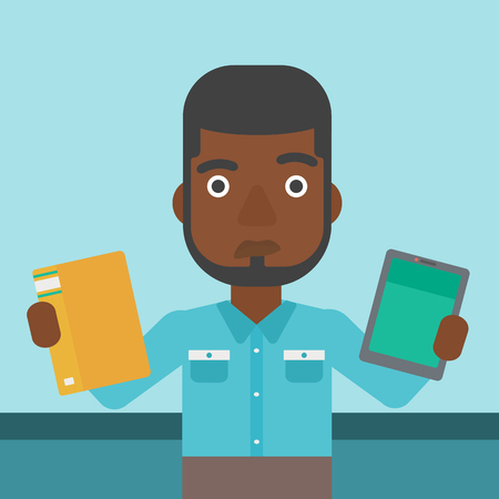 man holding book: An african-american man choosing between a tablet computer and a paper book. Man holding book in one hand and tablet computer in the other. Vector flat design illustration. Square layout.