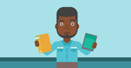 man holding book: An african-american man choosing between a tablet computer and a paper book. Man holding book in one hand and tablet computer in the other. Vector flat design illustration. Horizontal layout. Illustration