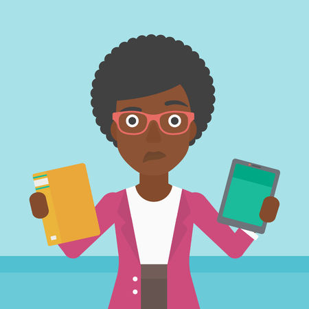 tablet computer: An african-american woman choosing between tablet computer and paper book. Woman holding book in one hand and tablet computer in the other. Vector flat design illustration. Square layout. Illustration