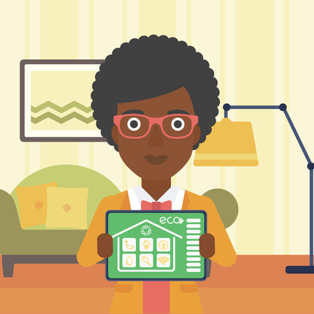 smart woman: An african-american woman  showing a tablet computer with smart home application on a screen on the background of living room. Vector flat design illustration. Square layout.