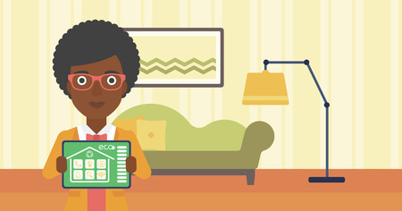 smart woman: An african-american woman showing a tablet computer with smart home application on a screen on the background of living room. Vector flat design illustration. Horizontal layout.