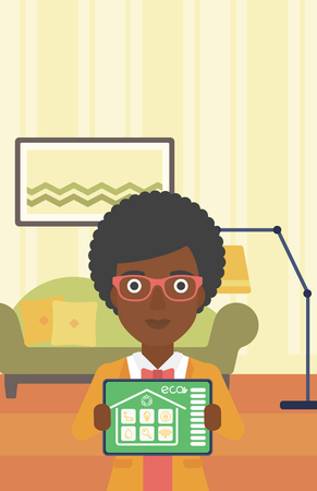 smart woman: An african-american woman showing a tablet computer with smart home application on a screen on the background of living room. Vector flat design illustration. Vertical layout.