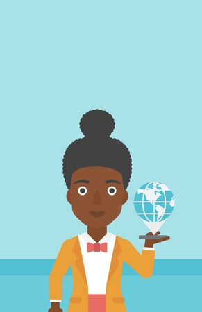 smart phone woman: An african-american woman holding a smartphone with a model of planet earth above the device. International technology communication concept. Vector flat design illustration. Vertical layout.