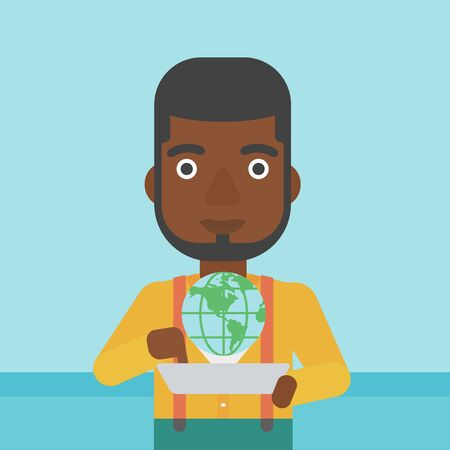 computer model: An african-american man holding tablet computer with model of planet earth above the device. International technology communication concept. Vector flat design illustration. Square layout.