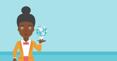 smart phone woman: An african-american woman holding a smartphone with a model of planet earth above the device. International technology communication concept. Vector flat design illustration. Horizontal layout.