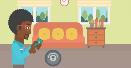 controlling: An african-american man controlling robotic vacuum cleaner with his smartphone in the living room. Vector flat design illustration. Horizontal layout.